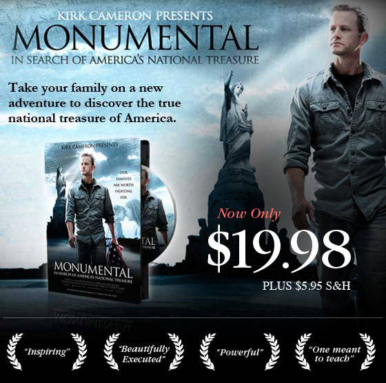 Take your family on a new adventure to discover the true national treasure of America in the Monumental Movie Series DVD, presented by Kirk Cameron